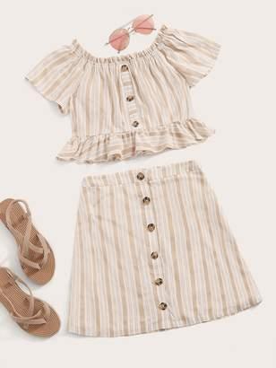 Shein Off Shoulder Frill Trim Buttoned Striped Top & Skirt Set