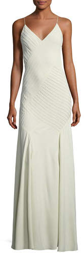 Ralph Lauren Collection Augustina V-Neck Sleeveless Pintucked Evening Gown