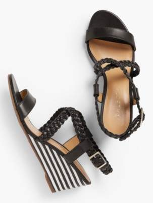 Talbots Royce Braided Leather Stripe-Cork-Wedge Sandals