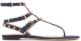 Valentino Rockstud Flat Suede Sandals - Womens - Navy