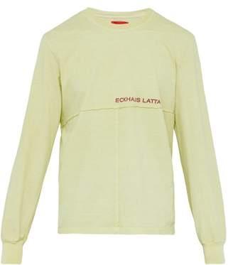 Eckhaus Latta Long Sleeved Recycled Cotton T Shirt - Mens - Green