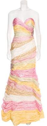 Terani Couture Strapless Colorblock Gown w/ Tags