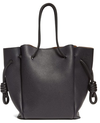 Loewe Flamenco Small Grained Leather Tote Bag - Womens - Dark Blue