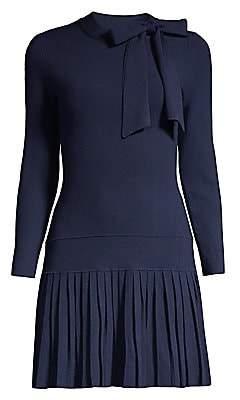 Shoshanna Women's Pleated Hem Knit Mini Dress
