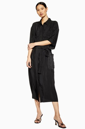Topshop Womens **Utility Shirt Dress By Boutique - Black