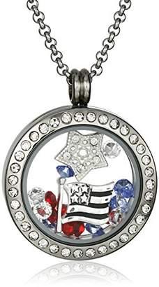 Americana Charmed Lockets Swarovski Crystal Floating Charm Locket Necklace