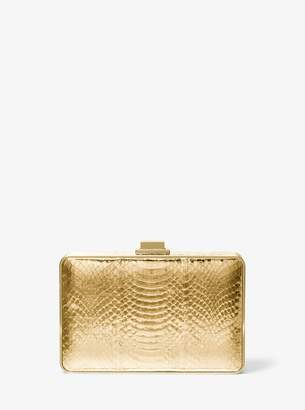Michael Kors Metallic Snakeskin Box Clutch