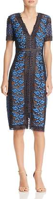 BCBGMAXAZRIA Lace Short Sleeve Dress