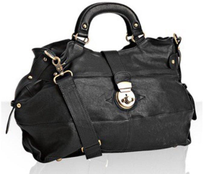 Sorial black seamed leather medium tote