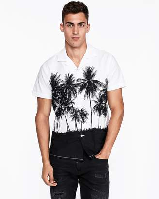 Express Slim Large Palm Tree Print Shirt