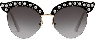Gucci black Cat eye acetate sunglasses with pearls