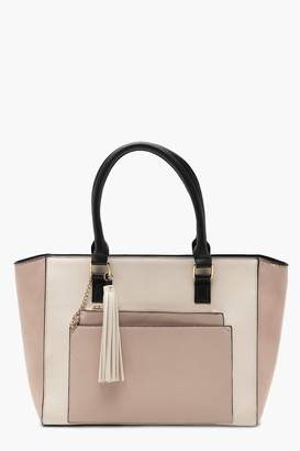 boohoo Colour Block Tote With Detachable Clutch