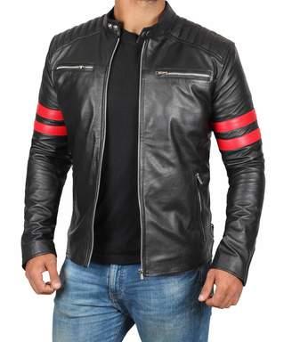 Hunter BlingSoul Genuine Black Leather Jacket Men - Lambskin Motorcycle Mens Leather Jackets   Dodge - M