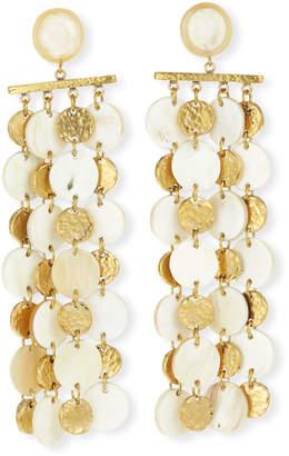Ashley Pittman Four-Chain Light Horn & Bronze Drop Earrings