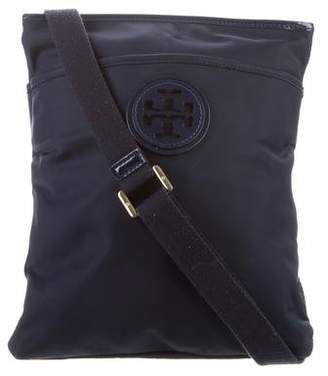 Tory Burch Patent Leather-Trimmed Logo Crossbody Bag