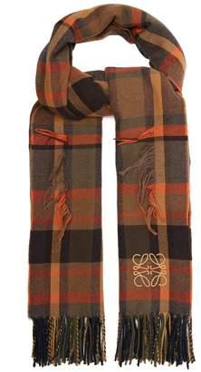 Loewe Fringed tartan wool-blend scarf