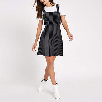 River Island Black stripe D-ring belt pinafore mini dress