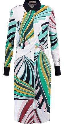 Emilio Pucci Draped Printed Crepe Dress