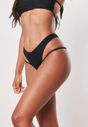 Missguided Black Strap Detail High Leg Thong Bikini Bottoms