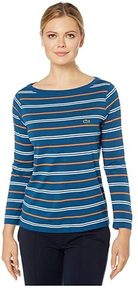 Lacoste Long Sleeve Boat Neck Cotton Modal Clean Striped Tee