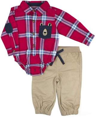 Little Rebels Woven Plaid Bodysuit & Twill Jogger Pants, 2pc Outfit Set (Baby Boys)