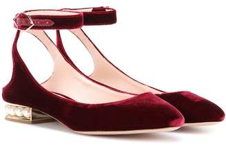 Nicholas Kirkwood Exclusive to mytheresa.com – Lola Pearl velvet ballerinas