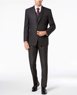 Andrew Marc Men's Modern-Fit Stretch Charcoal Neat Vested Suit