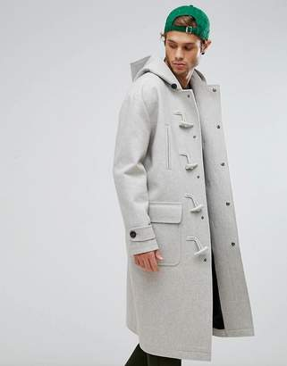 Asos Wool Mix Oversized Duffle Coat In Grey Marl