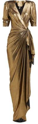 Maria Lucia Hohan Adelyn Metallic Wrap Maxi Dress - Womens - Gold
