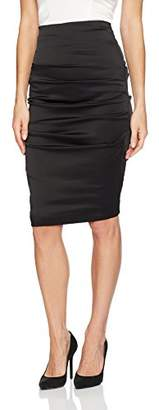 Nicole Miller Women's Stretch Satin Rouched Sandy Pencil Skirt