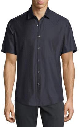 Salvatore Ferragamo Men's Gancini-Jacquard Short-Sleeve Sport Shirt, Navy