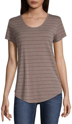A.N.A Scoop Neck Tee Short Sleeve Scoop Neck Stripe T-Shirt-Womens