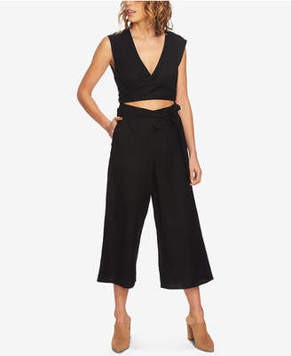 1 STATE 1.state Wrap-Front Cutout Cropped Jumpsuit