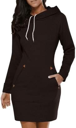 BIUBIU BUIBIU Women's Long Sleeve Cotton Slim Fit Midi Hoodie Dress with Pocket S