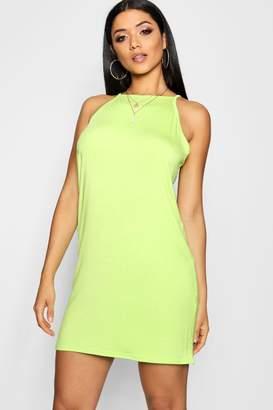 boohoo High Neck Plain Shift Dress