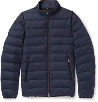 Loro Piana Rain System Wool and Silk-Blend Down Jacket - Men - Navy