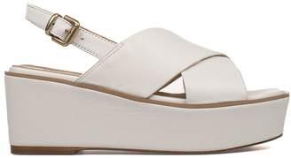 Fabio Rusconi White Leather Wedge Sandal