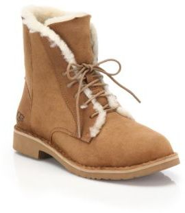 UGG Quincy Shearling-Trimmed Lace-Up Boots $170 thestylecure.com