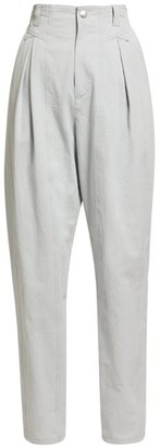Isabel Marant Handy High Rise Cotton Trousers - Womens - Light Grey