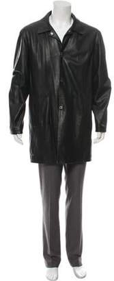 Salvatore Ferragamo Leather Car Coat black Leather Car Coat