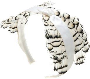 Jennifer Ouellette Satin & Feather Knot Headband