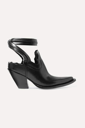 Maison Margiela Distressed Cutout Leather Ankle Boots - Black