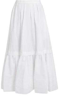 Erdem Leigh Tiered Cotton Skirt - Womens - White