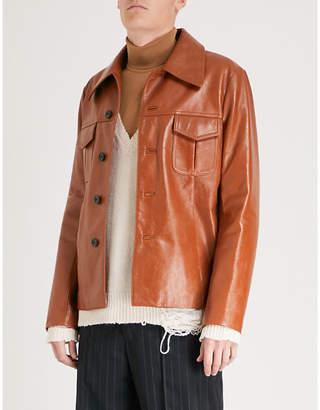 Maison Margiela Button-up leather jacket