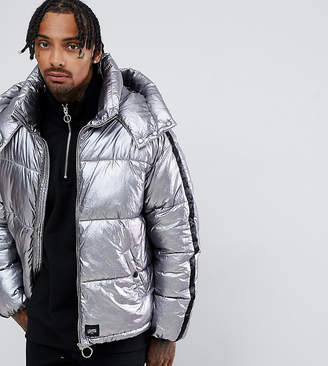 Asos Sixth June puffer jacket in silver