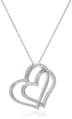 Sterling Double Heart Diamond Pendant Necklace