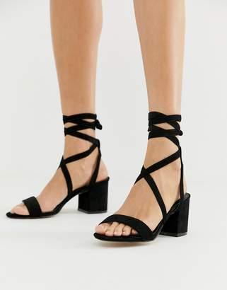 Public Desire Sophie black ankle tie mid heeled sandals 277d998b6e85a