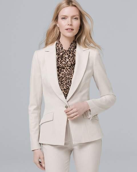 Whbm Herringbone Blazer Suiting Jacket