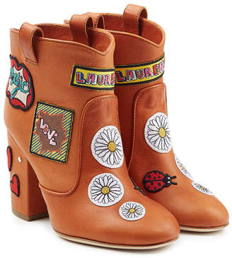 Laurence Dacade Leather Ankle Boots with Logo Patches