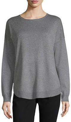 Liz Claiborne Womens Crew Neck Long Sleeve Pullover Sweater
